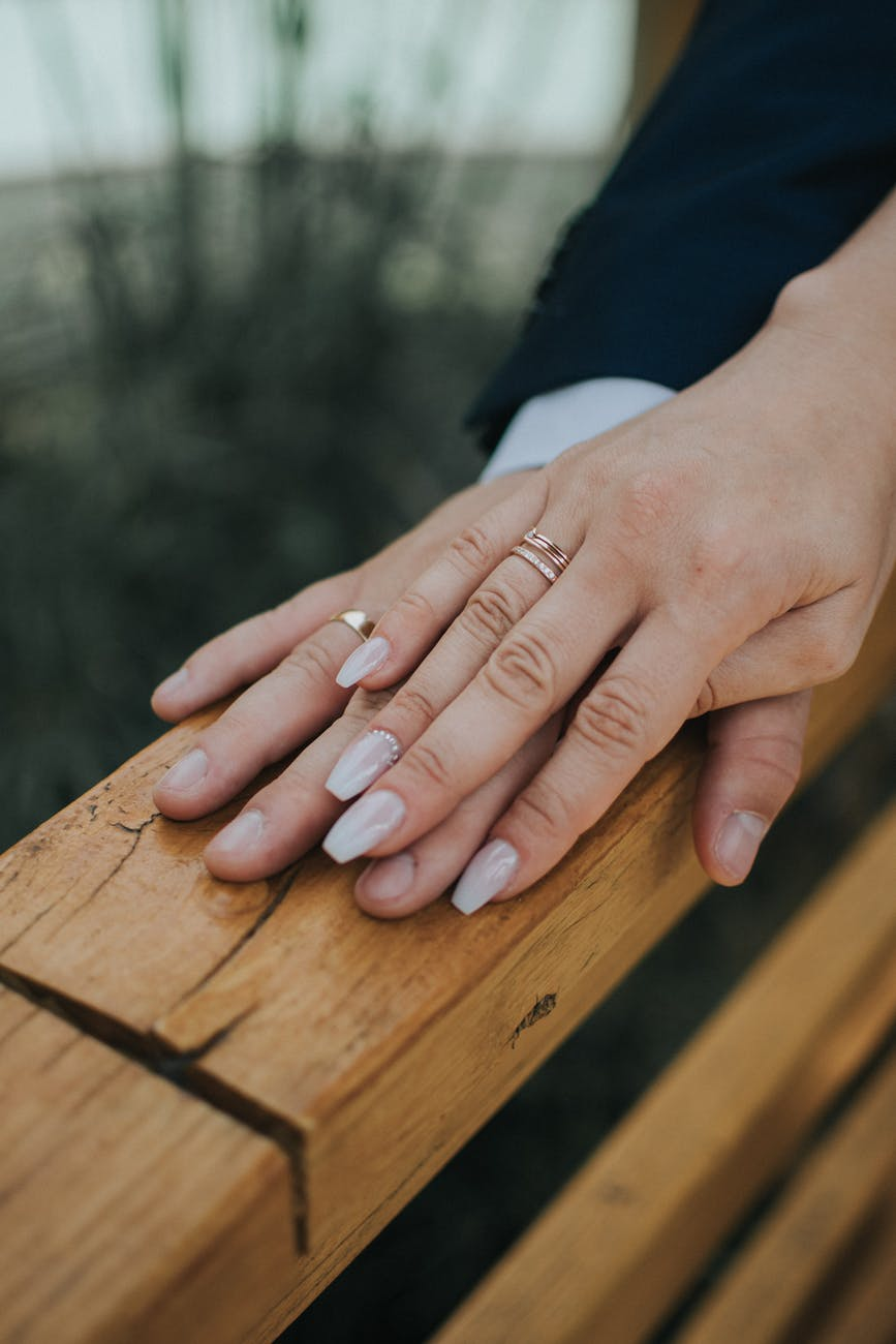just married couple in wedding rings