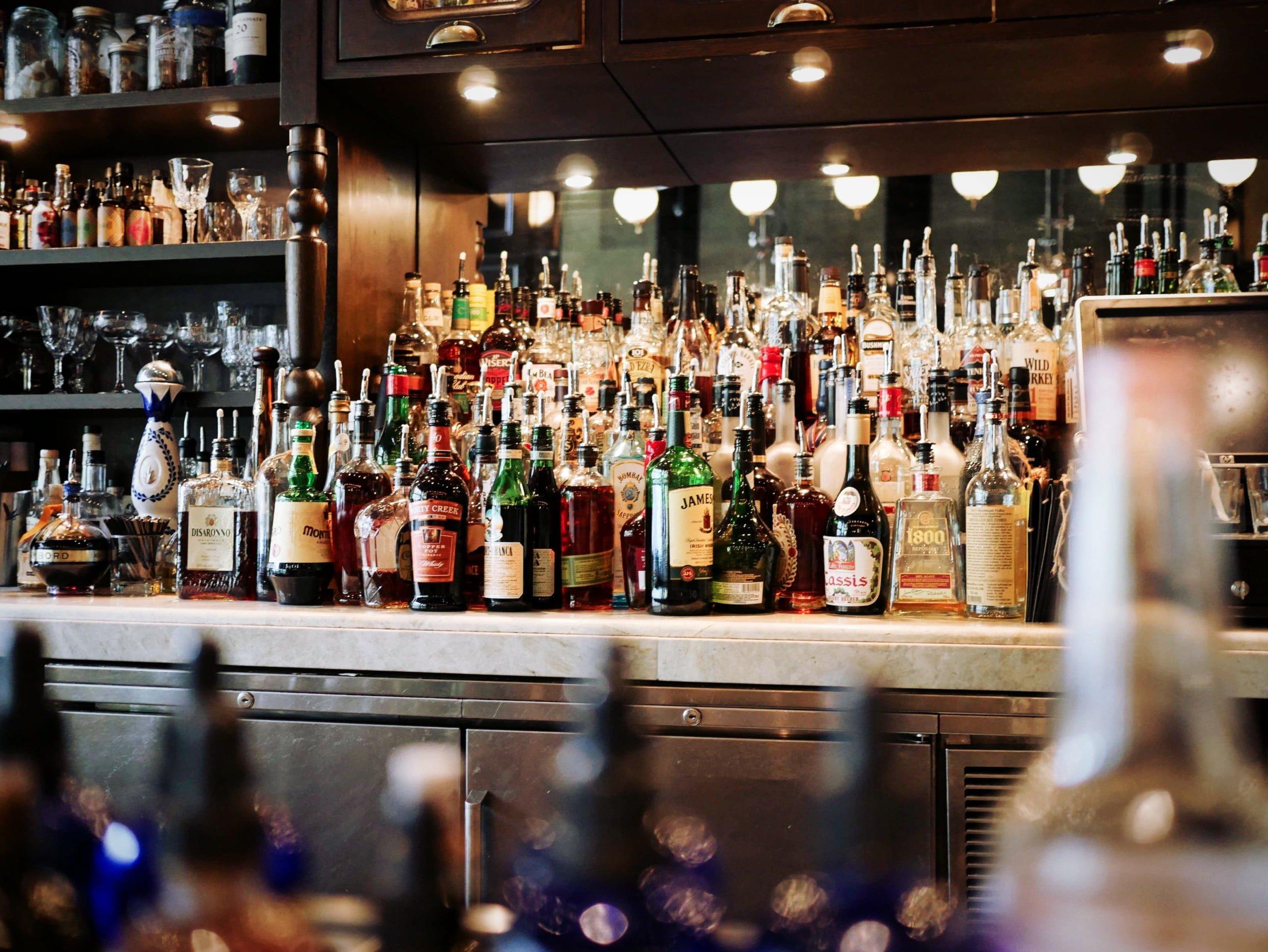 Busy bar shelf